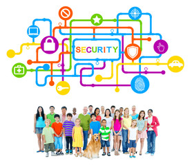Diverse People and Pet Dog with Security Concepts