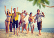 Group of Casual People Partying on a Beach