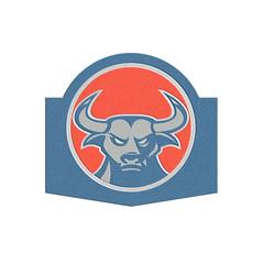 Metallic Angry Bull Head Circle Retro