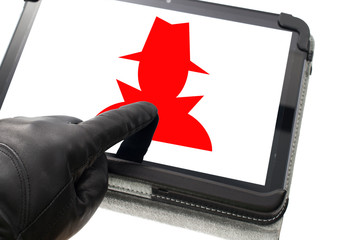 Online mobile spyware concept with hand wearing black glove poin