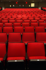 Red Chairs in movie theater