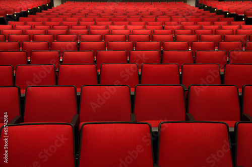 Red Chairs in movie theater - 65742884