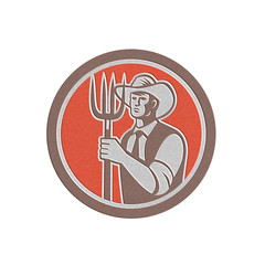 Metallic Farmer Holding Pitchfork Circle Retro