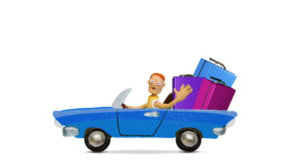 Traveling by car with luggage, stop motion.
