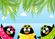 Cute penguins on summer background