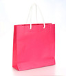 Pink shopping paper bag isolated on a white background - 65743667