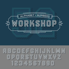 Alphabet numbers retro colour style.