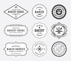 Bakery goods badges black and white