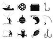 black fishing icons set - 65744489
