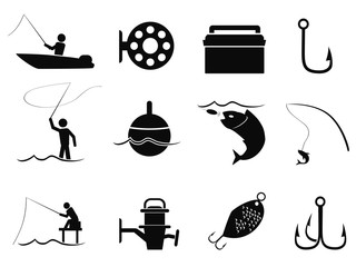 black fishing icons set