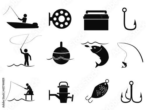 black fishing icons set - 65744489