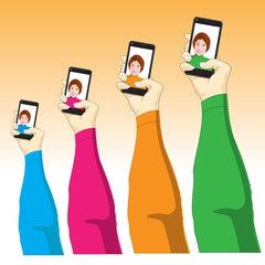 Selfie, Woman Taking Self Picture - Illustration
