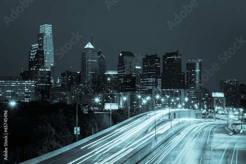 Philadelphia skyline by night - Pennsylvania - USA