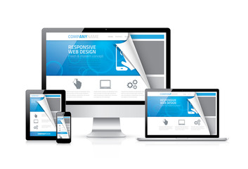 Responsive web design vector with realistic electronic devices.