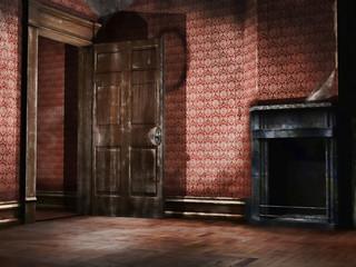 Stary pusty pokój z tapetą retro
