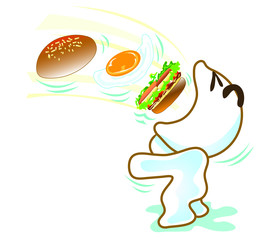 Broad bill eat burger egg