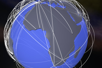 Africa Global Network Connections 3D Illustration