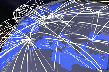 Europe Global Network Connections3D Illustration