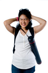 Stressed college girl with backpack and blueprint carrier