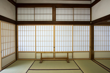 washitsu room, Japanese style room with tatami mat, Kyoto Japan