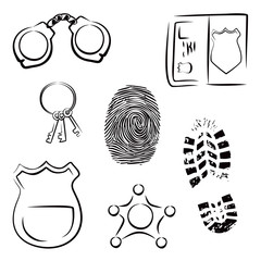 Collection of police and crime related symbols