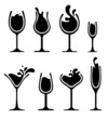 silhouette of wine glass with splash - 65748212