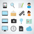 Flat Icons Set - Isolated On Gray Background