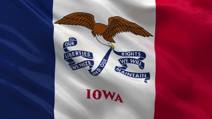 US state flag of Iowa waving in the wind - loop