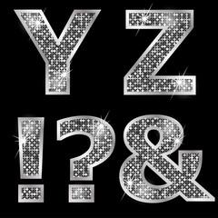 Silver metallic shiny letters Y, Z, !, ?, &