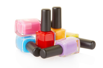 Nail polish group on white, clipping path included