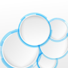 Bright blue circle design elements