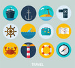 Travel icons, flat design of icons for web and mobile