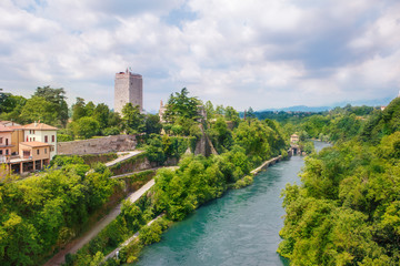 Visconti castle  and Adda river in Trezzo sull'Adda