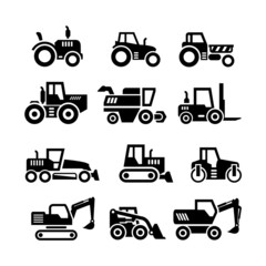 Set icons of tractors, farm and buildings machines