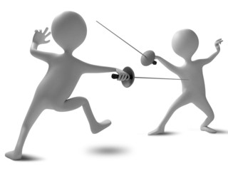 Two funny characters compete in fencing. Illustration on a white