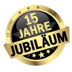 """Button mit Banner """" 15 JAHRE JUBILÄUM """""""