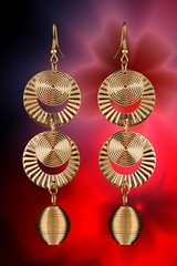 Special design golden earings for beautiful women