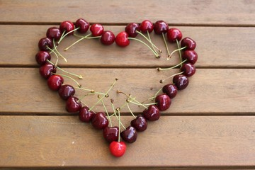 Coeur en cerises