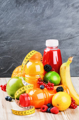 Fresh fruits and various juices