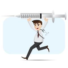 cartoon doctor carrying big syringe