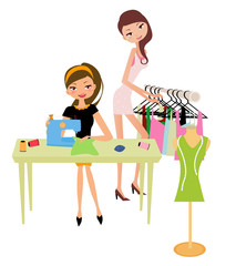 Pretty girls Using Sewing Machine