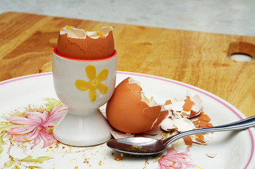 boiled egg shell on a plate