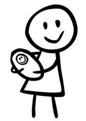 Mutter mit gewickeltem Säugling auf dem Arm / schwarz-weiß