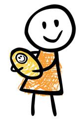 Mutter mit gewickeltem Säugling auf dem Arm, Vektor/freigestellt