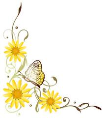 Gelbe Sommerblumen, Sommer, Schmetterling