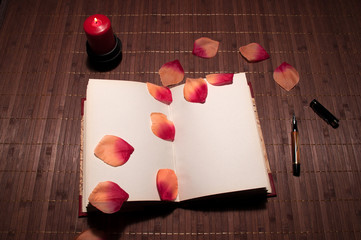 libro y petalos