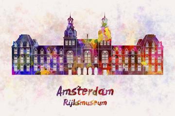 Amsterdam Rijksmuseum Landmark in watercolor