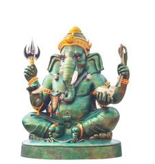 Ganesha statue Hindu god, on white background