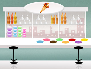 illustration of ice cream shop