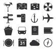 Travel icons, set of black icons tourism